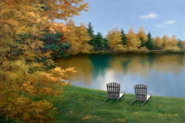 Autumn Crossing by Diane Romanello Canvas Landscape